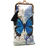 Value Arts Blue Butterfly Eyeglass Case Pouch, 7 Inches Long