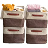 VK Living Large Foldable Storage Bin Collapsible Fabric Storage Basket Cube PU Handles for Organizing Toys Clothes Kids Room