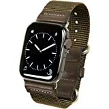 atelierCODEL Apple Watch バンド レザー 本革 ナイロン ベルト ミリタリー アップルウォッチ series6/SE/5/4/3/2/1 対応 (42mm/44mm, オリーブ)