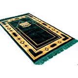 Premium Islamic Prayer Rug/Janamaz Sajjadah/Namaz Seccade by GOLD CASE - Pyramid Patterned - Made in TURKEY, Green