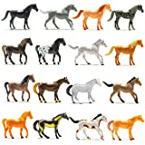 Prextex Plastic Horses Party Favors, 16 Count (All Different Horses in Various Poses and Colors) Best Toy Gift for Boys
