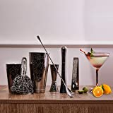 SKYFISH Bartender Kit Cocktail Shaker Set-7 Pieces Stainless Steel Black Plated Etching Bar Tools With Boston Shaker Tins,Mix