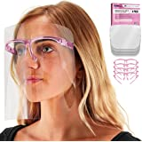 TCP Global Salon World Safety Face Shields with Pink Glasses Frames (Pack of 4) - Ultra Clear Protective Full Face Shields to