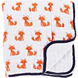 Hudson Baby Muslin Cotton Tranquility Blanket, Foxes, White/Orange/Blue