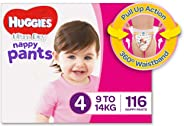 Huggies Ultra Dry Nappy Pants, Girls, Size 4 Toddler (9-14kg), 116 Count