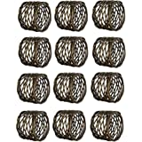 Kaizen Casa Handmade Round Mesh Napkin Rings Holder for Dinning Table Parties Everyday, Set of 12 (Antique Brass)