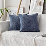 (46cm x 46cm, Set of 2, B-Jeans Blue) - Home Brilliant Cushion Cover for Chair Decor Striped Plush Chenille Velvet Supersoft