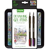 Crayola Detailing Gel Pens, Extra Fine Point, Metallic and Glitter, Colored Gel Pen Set with Decorative Case, Stocking Stuffe
