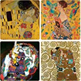 CoasterStone AS9830 Gustav Klimt Collection Absorbent Coasters, 4-1/4-Inch, Set of 4