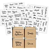 Good Karma Studio 150 Labels for Storage Bins + 15 Blank Labels, Farmhouse Font, Pantry Labels, Bathroom Stickers, Linen Clos