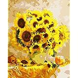 DIY 数字油絵 数字塗り絵 大人の子供のためのギフト デジタル油絵 数字キットでペイント ホーム オフィス装飾 - 黄色いひまわり 40* 50センチ