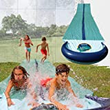 Team Magnus water slide for garden play: 9,5m XXL slip and slide for races with heavy-duty inflatable crash pad