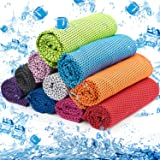 MENOLY 10 Pack Cooling Towel, Ice Towel Microfiber Towel Soft Breathable Chilly Towel for Sports Gym Yoga Camping Running Fit