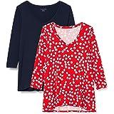 Amazon Essentials Women's 2-Pack 3/4 Sleeve V-Neck Swing Tee