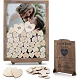 GLM Wedding Guest Book Alternative Drop Top Frame with Display Stand, 85 Wooden Hearts, 2 Large Hearts, and Sign Alternative