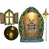 Opening Fairy Door and Window for Trees with Light – Glow in The Dark Yard Art Sculpture Decoration for Kids Room, Wall and T