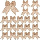20 Pieces Burlap Bows Burlap Bow Knot Handmade Burlap Decorative Bowknot Natural Ornament Bow for Christmas Decoration Tree F