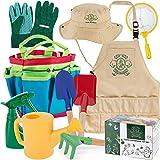 Kids Gardening Tools, 10 Piece - Premium Garden / Backyard Tool Set with Gloves, Apron, Rake, Hat, Shovel, Trowel, Watering C