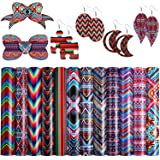 12 Pieces Geometry Pattern Printed Faux Leather Sheets Striped Plaid Synthetic Leather Fabric with Cotton Back for Making Ear