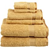 Superior Luxurious Soft Hotel & Spa Quality 6-Piece Towel Set, Made of 100% Premium Long-Staple Combed Cotton - 2 Washcloths,