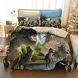 ADASMILE A & S Dinosaur Bedding Set Jurassic Age T-Rex Raptors Duvet Cover and Pillowcase Set Kids Boys Bedroom Decoration Be