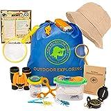 Outdoor Adventure Kit for Kids-20 pc Bug Catching & Explorer Kit-Binoculars-Compass-Magnifying Glass- Bug Catcher Set+Contain