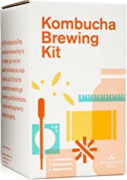 Kombucha Brewing Kit with Organic Kombucha Scoby. Includes Glass Brew Jar, Organic Kombucha Loose Leaf Tea, Temperature Gaug