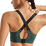 SYROKAN Women's High Impact Padded Sports Bra Full Coverage Gym Workout Bras with Wire
