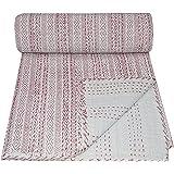 V Vedant Designs Indian Handmade Twin Cotton Hand Block Kantha Quilt Throw Blanket