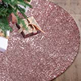 yuboo Rose Gold Christmas Tree Skirt, Sequin Double Layers Xmas Tree mat for Holiday Party