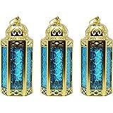 Gold Decor Candle Lanterns Decorative for Room, Medium, Blue, Set of 3