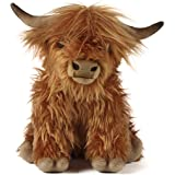Living Nature Soft Toy - Plush Farm Animal, Highland Cow with Sound (30cm) - Realistic Soft Toys with Educational Fact Tags