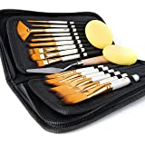 Artify 15 pcs Paint Brush Set for Acrylic Oil Watercolor Gouache Painting Includes Pop-up Carrying Case with Palette Knife an