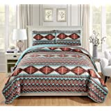 Rugs 4 Less Rustic Southwestern Queen/Full Quilt Set Native American Tribal Bedspread Utah Turquoise Full/Queen Quilt