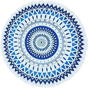 créer ラウンドビーチタオル ビーチマット円形 厚手 大判 海 インテリア ラグ