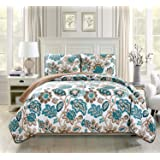 Linen Plus Quilted Bedspread Set Oversized Coverlet Floral Brown Teal White New (King/Cal King)