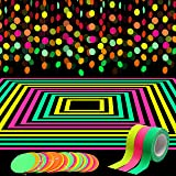 WATINC 72ft Neon Paper Garland, Circle Dots Hanging Decorations for Birthday Party Christmas Wedding Glow in The Dark Party,