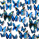 Amaonm 120pcs 10 Packages Removable 3D Butterfly Blue Stickers Making Wall Decal DIY Wall Stickers Decals Crafts Butterflies
