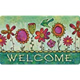 Toland Home Garden Groovy Blooms 18 x 30 Inch Decorative Flower Floor Mat Floral Welcome Doormat