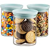 Godinger Food Storage Containers, Stackable Organization Canister Glass Jars - Medium, Set of 3