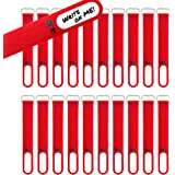"""Wrap-It Storage Cinch-Straps, 5"""" 20 Pack (Red), Features Stainless Steel Buckle and Write on Label for Easy Cord Identificati"""