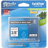 """Brother Genuine P-Touch TZE-325 Tape, 3/8"""" (9 mm) Standard Laminated P-Touch Tape, White on Black, Laminated for Indoor or Ou"""