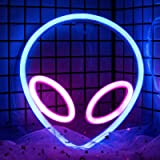 Alien Neon Signs Lights for Wall Decor, Battery/ USB Operated Led Neon Sign, Pink/Blue Alien Neon Night Light for Bedroom, Va