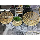 Patio Setting Isla Retro 3 Piece Bistro Balcony Pool Deck Rattan Cane Metal Garden Furniture Outdoor Home Decor