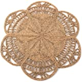 Handmade Rattan Rug, Natural Round 4 ft Indoor   Area Rug 4', Natural Fiber Rugs, Round Jute Rug, Straw Rug, Round Boho Rug,