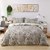 Candid Bedding Duvet Cover Set Line Printed 3 Piece Duvet Cover Reversible 2 Pillow Shams Ultra Soft with Zipper Closure, Mic
