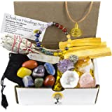 White Sage Palo Santo Wood & Crystal Healing Kit (17Pc) ~ Smudge Stick Palo Santo Sticks Raw Crystals Quartz Obelisk 7 Chakra