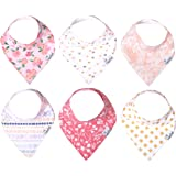 """Baby Bandana Drool Bibs for Drooling and Teething 6 Pack Gift Set for Girls """"Amelia Set"""" by Copper Pearl"""