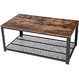 VASAGLE ローテーブル センターテーブル スチールフレーム ワイヤーメッシュ 木製天板80×40cm コンパクト…