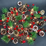 Camlinbo Christmas String Lights, 7FT 20LED Christmas Garland with Lights Frosted Pine Cones Red Berries Bells, Battery Opera
